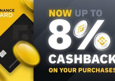 Binance anuncia hasta un 8% de reembolso en efectivo con su tarjeta de débito Bitcoin al hacer staking BNB